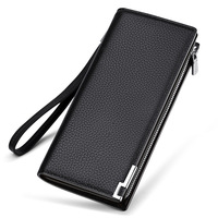 Fashin Man Wallet Male Long Business Man Clutch With Strap Hight Quality Leather Cowwide Two Fold