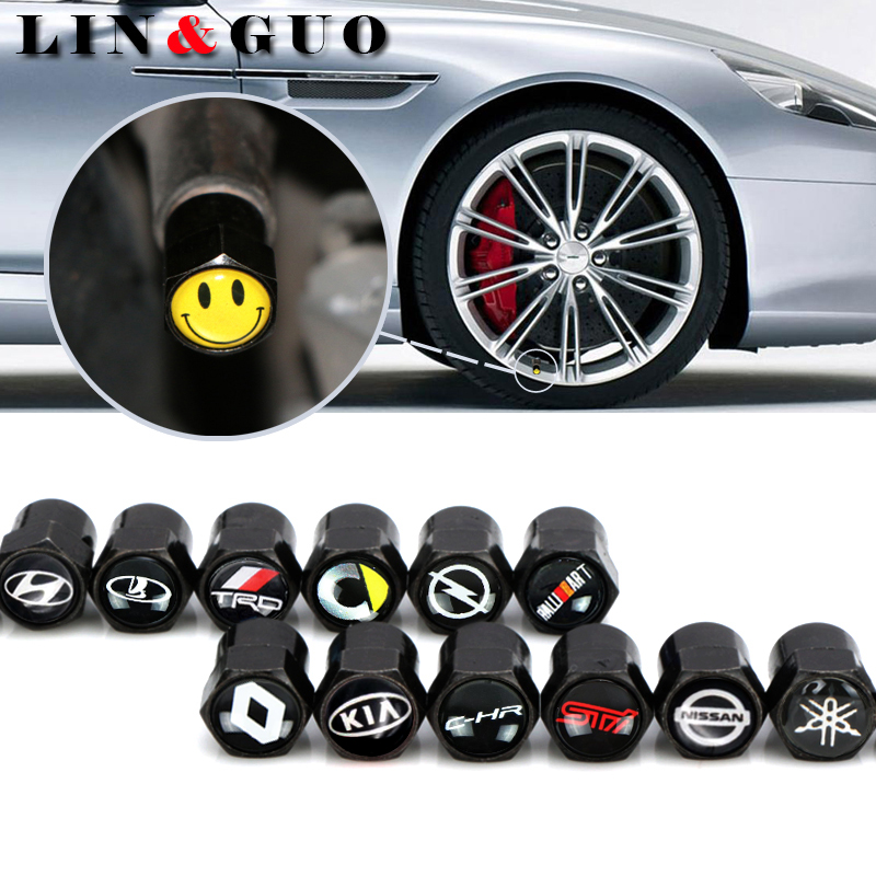 4pcs Carbon black New Car Badge Wheel Tire Valve Cap Tyre Dust Cap For opel opc alfa lada renault Great Wall car accessories цена