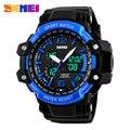 2016 SKMEI hombres Reloj Digital S CHOQUE Hombres Reloj 50 M Resistente Al Agua Fecha Alarma Calendario LED Dial Grande Relojes deportivos