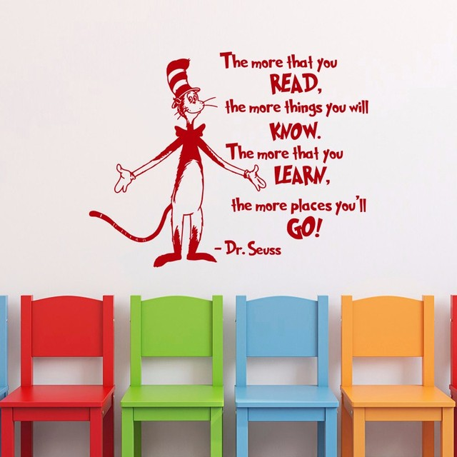Dr Seuss Quotes The More That You Read  Nursery Kids Wall Stickers Tickers  Muraux Vinyl