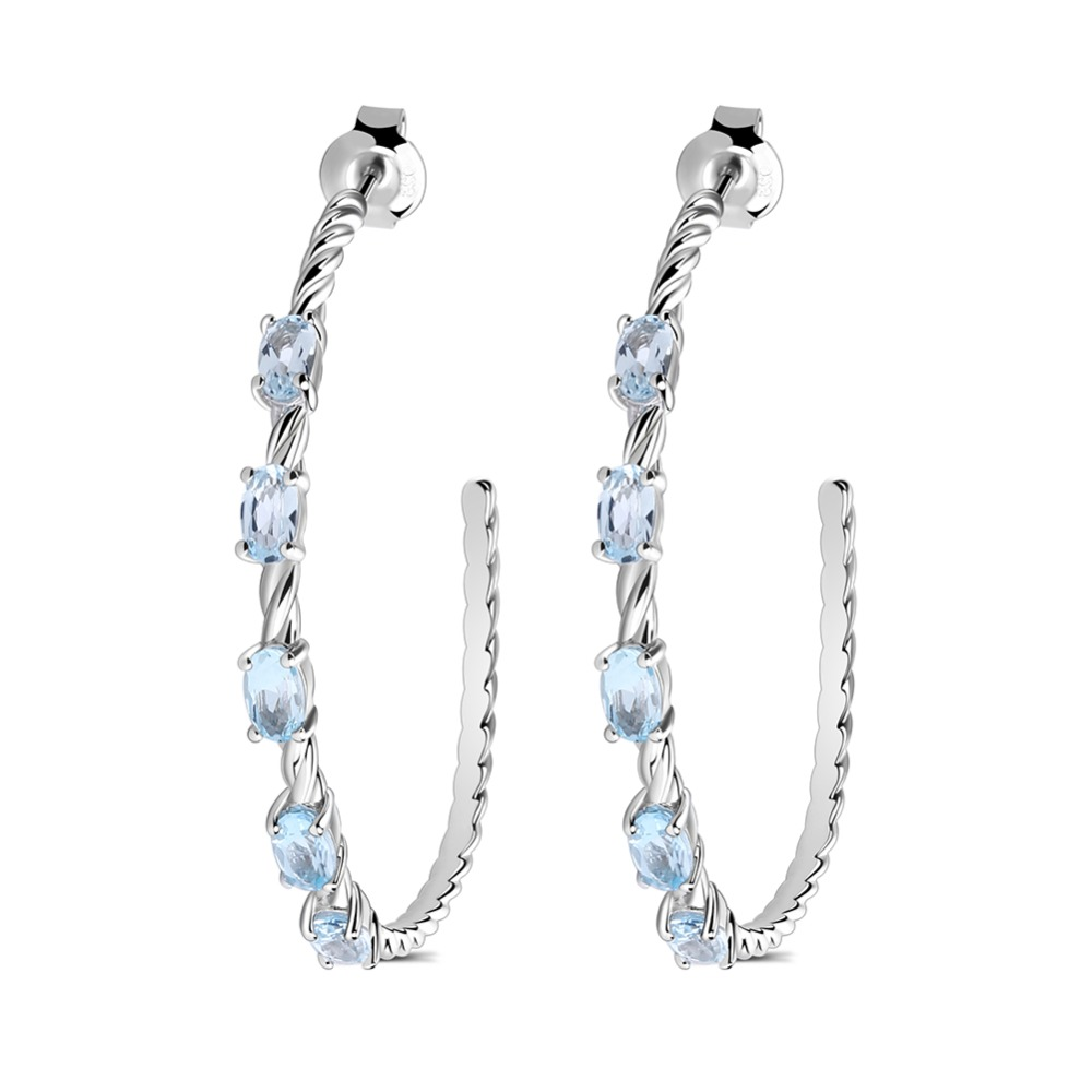 Gem's Ballet 2.94Ct Oval Natural Sky Blue Topaz Gemstone Hoop Earrings 925 Sterling Silver for Women Wedding Gift Fine Jewelry