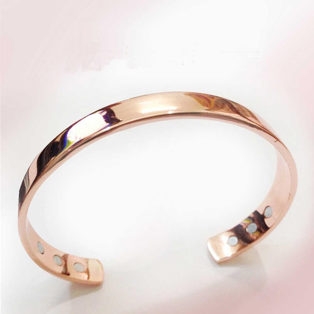 טהור נחושת מגנט אנרגיה בריאות פתוח צמיד מצופה זהב צבע פשוט צמיד ביו בריא ריפוי צמיד זרוק משלוח