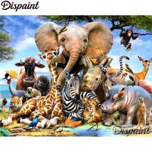 Dispaint Diamond Painting Cross Stitch Elephant giraffe Full Crystal Embroidery Needlework Craft Home Decor A10568