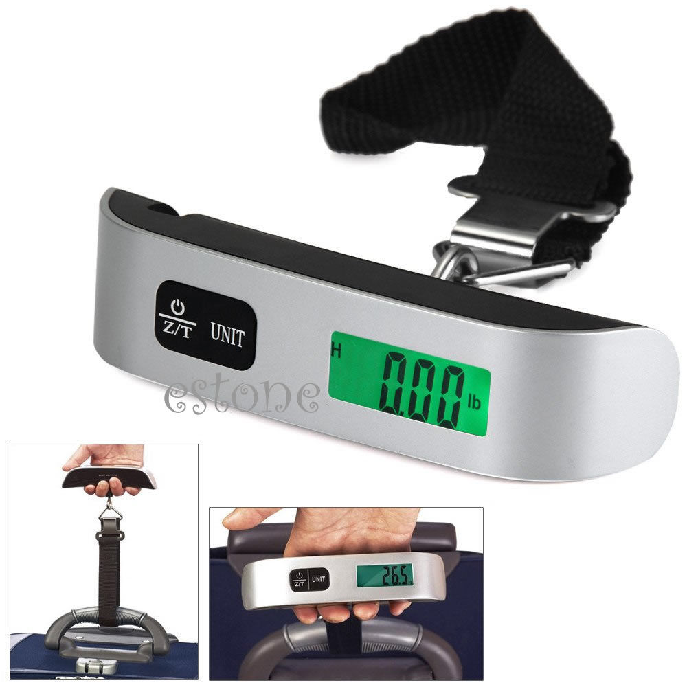 50kg//10g T-Shaped LCD Backlight Digital Hanging Luggage Scale Travel Weight GN