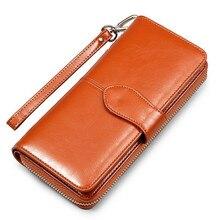 hot deal buy oil wax women's  genuine leather money bag hasp money clips purse wallets clips purses zipper clip buckle wallets female