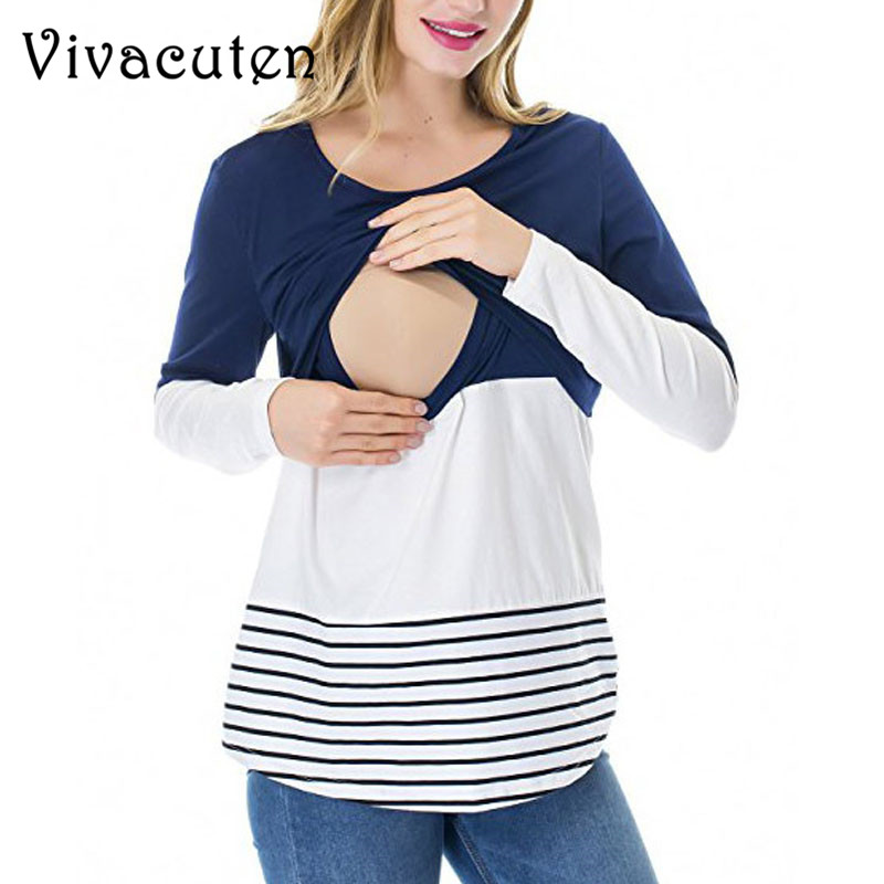 Maternity Nursing Tops Cotton Feeding Clothes For Pregnant Women Breastfeeding Tees Pregnancy T-Shirts Maternity Clothing M40