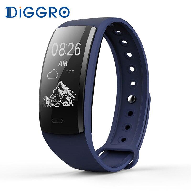 Diggro QS90 смарт-браслет сердечного ритма Мониторы Приборы для измерения артериального давления крови кислородом IP67 Фитнес трекер для Andriod IOS PK Mi band2