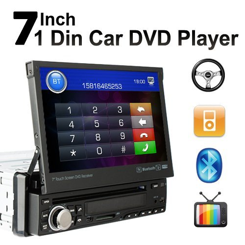 """High Res 7"""" Touch Screen Single 1 Din Car Stereo DVD Player Radio In Dash Head Deck Bluetooth Ipod TV Steering Wheel Control"""