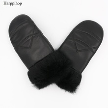 Harppihop 2017 Winter New Womens Genuine Leather Gloves Rabbit Fur Mitten Fingerless Thick Thermal