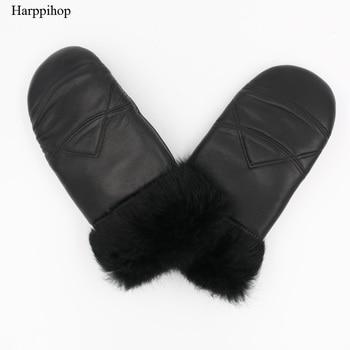 Harppihop 2017 Winter New Womens Genuine Leather Gloves Rabbit Fur Mitten Fingerless Thick Thermal