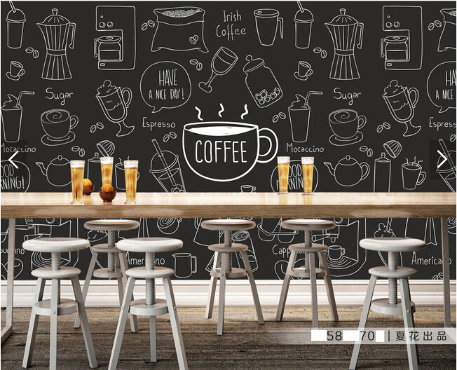 Custom retro wallpaper, painted coffee theme murals for the hotel restaurant coffee shop background wall vinyl papel de parede