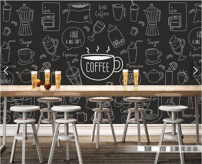 Custom Retro Wallpaper Painted Coffee Theme Murals For