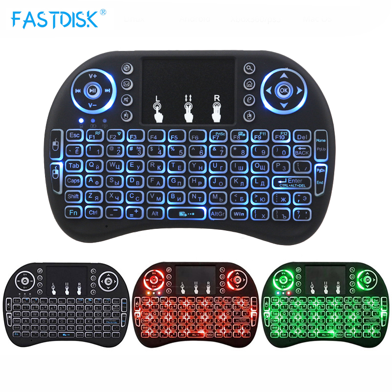 2.4GHz Wireless Backlight Russian Keyboard With Mouse Touchpad Handheld Remote control for Android Smart TV BOX Mini Computer air mouse wireless remote touchpad control for android smart tv black