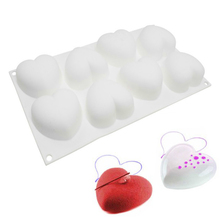 TTLIFE 8 Holes Heart Silicone Molds Mousse Cake Baking Moulds Pudding French Dessert Mold Pastry Confeitaria Decorating DIY Tool