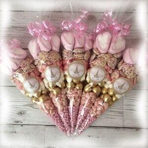 Image 3 - Sacs de bonbons en forme de licorne, sachets de cône transparents en Cellophane, décorations de mariage, anniversaire et fête pour enfants, emballage cadeau, 50pcs