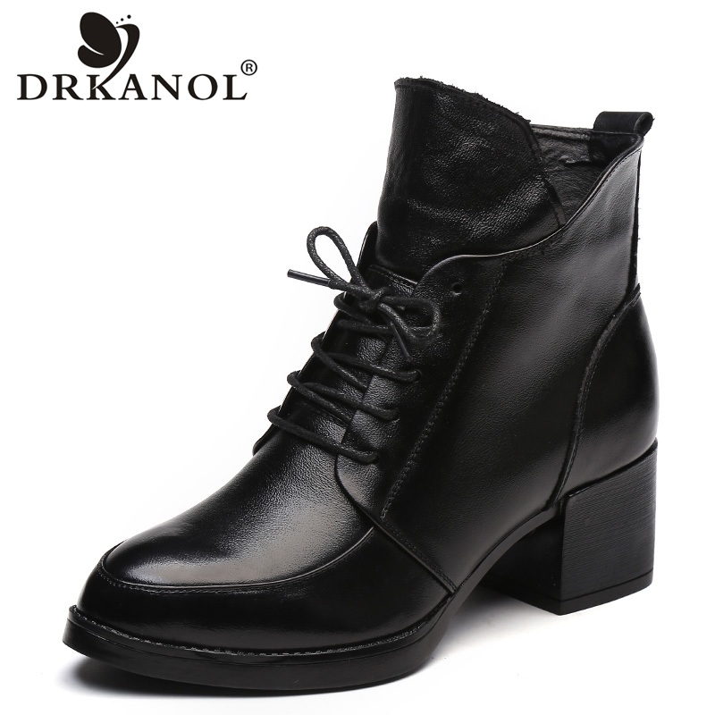 DRKANOL Genuine Leather Thick Heel Women Boots 2018 Solid Black Winter Ankle Boots Motorcycle Botas Pointed Toe Warm Women ShoesDRKANOL Genuine Leather Thick Heel Women Boots 2018 Solid Black Winter Ankle Boots Motorcycle Botas Pointed Toe Warm Women Shoes