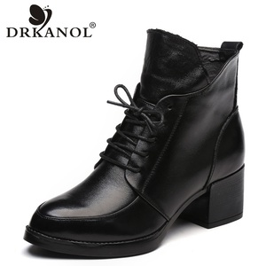 Image 1 - DRKANOL Genuine Leather Thick Heel Women Boots 2019 Solid Black Winter Ankle Boots Motorcycle Botas Pointed Toe Warm Women Shoes