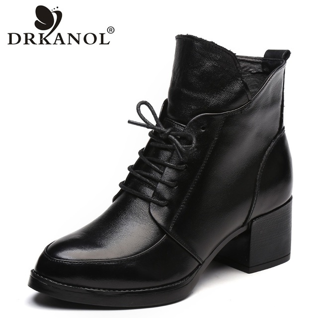 DRKANOL Genuine Leather Thick Heel Women Boots 2019 Solid Black Winter Ankle Boots Motorcycle Botas Pointed Toe Warm Women Shoes