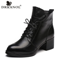 DRKANOL Genuine Leather Thick Heel Women Boots 2018 Solid Black Winter Ankle Boots Motorcycle Botas Pointed Toe Warm Women Shoes