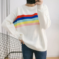 Fashion all-match autumn and winter new women 's rainbow color stripes Spell color round neck long sleeve loose loose sweater