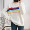 Todo-fósforo del otoño y el invierno de las nuevas mujeres de color del arco iris de rayas Del color Del Encanto de cuello redondo de manga larga suelta suéter flojo