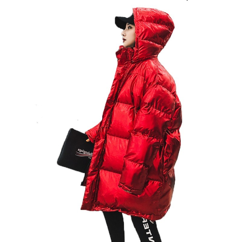 Korean Women Jacket Winter Thick Clothes Plus Size   Parka   Hat Snow Wear Cotton Padded Coat Female Loose Oversize Outerwear B137
