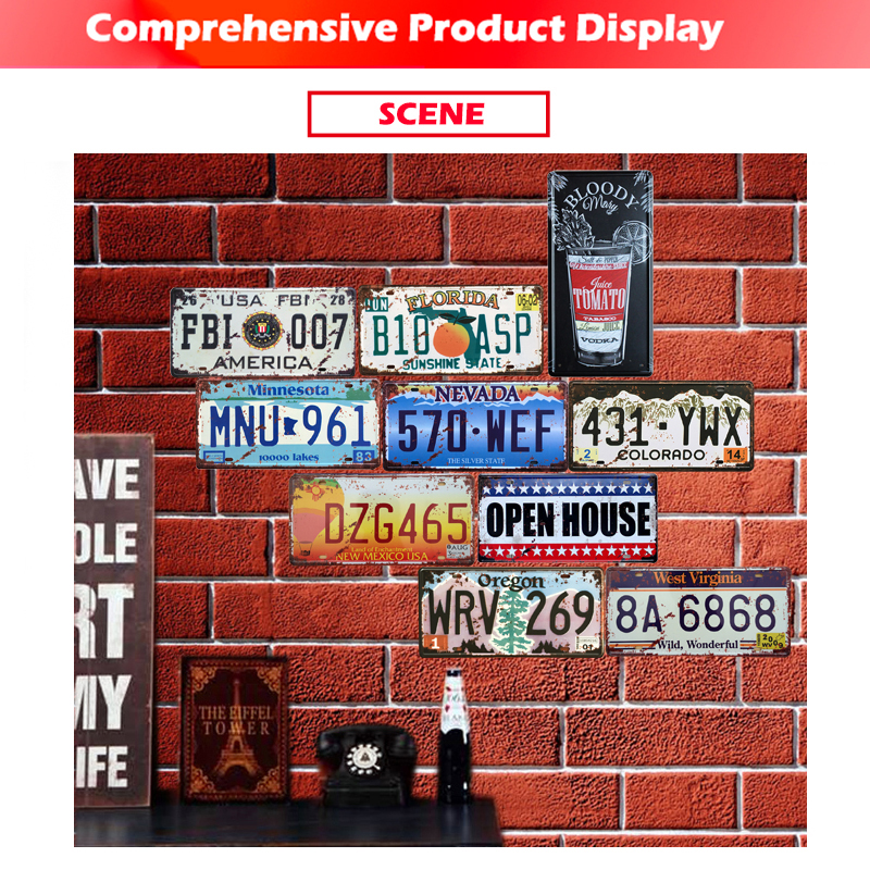 [inFour+] MNU-961 License Plate Metal Plate Car Number Tin Sign Bar Pub Cafe Home Decor Metal Sign Garage Painting Plaques Signs
