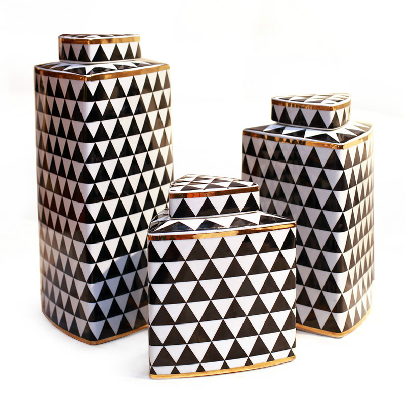 3pcs/set New Chinese Style Vintage Home Decor black and white Geometric Figure Ceramic Vases Decorative Porcelain Jars