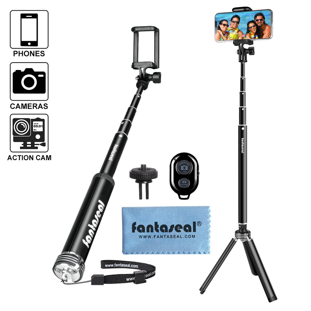Super Long Cell Phone Selfie Stick Tripod Stand with Wireless Remote for iPhone Xs XS MAX X Galaxy Note 9 S9 Huawei P20 / GoPro