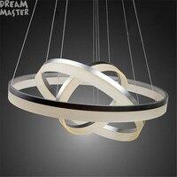 Современные акриловые светодио дный люстра лампа 3 кольца подвесные светильники для домашние деко с светодио дный источник промышленные до