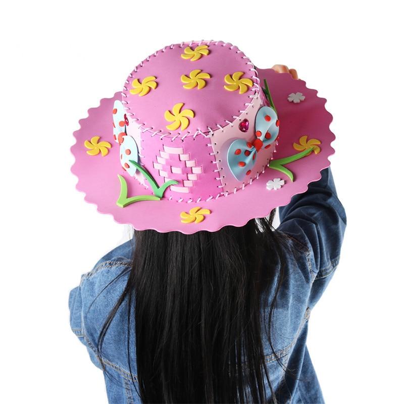 Kids DIY Hat Craft Toys EVA Foam Paper Weaving Hat Creative Flowers Stars Patterns Kindergarten Art Children Party Decorations