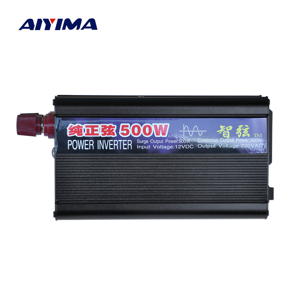 цена на Aiyima 1PCS 500W Pure Sine Wave Power Inverter DC12V/24V To AC220V Car Home Power Converter