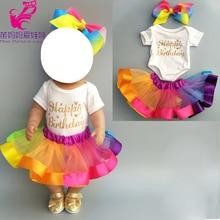 43cm doll dress for 40 Baby rainbow headband set 18 new born baby
