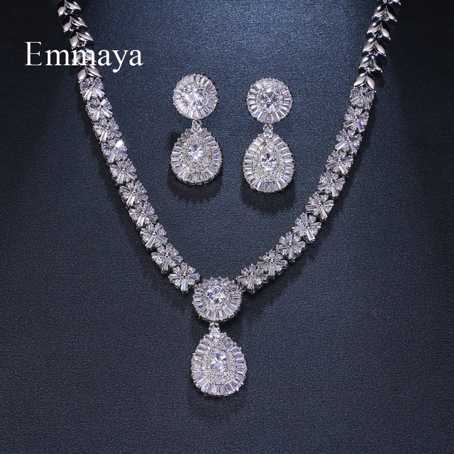 Emmaya Brand Charm Gorgeous Cubic Zircon White Gold Color New Crystal Earrings Necklace Set For Women Bride Jewelry Gift