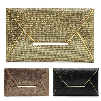 Ladies Evening Party Top-Handle Bags Sparkle Bling Day Clutch Bag Purse PU Leather Envelope Sequined Glitter Handbag