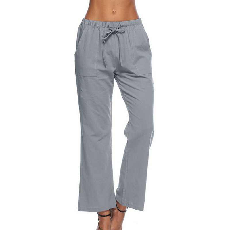 7edbaec8100c SHUJIN Plus Size Women Pants Fashion Solid White Wide Leg Pants Summer  Casual Stretch Drawstring Trousers