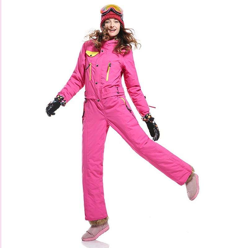 Women's Ski Thicken Set  Veneer One Piece Ski Suit Female Windproof Waterproof Warm Snowboard   Winter Snow Jumpsuit -30 Degree