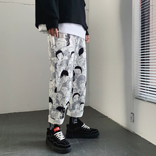 Cargo Pants For Men Baggy White Full Printed Cartoon Harajuku Japanese Fashion Male Pants Streetwear Summer Men's Trousers