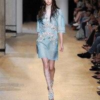 Silk Dresses Women Natural Silk Blue V Neck Girl's Petal Party Dress Women Long Elegant High Quality Free Shipping