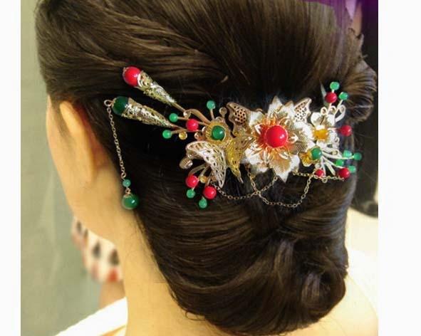 Bride Wedding Hair Accessory Head Piece 3 Piece Set  Hanfu Costume Xiu He Fu Wedding Use Hair Jewelry 00009 red gold bride wedding hair tiaras ancient chinese empress hair piece