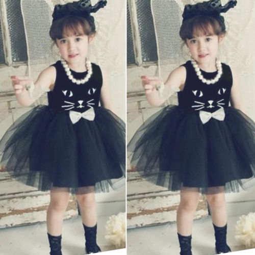 72f0274586 2018 Summer New Kids Girls Black Cat Dress Cute Baby Princess Evening Party  Sleeveless Ball Gown Mesh Tulles Tutu Skater Dresses