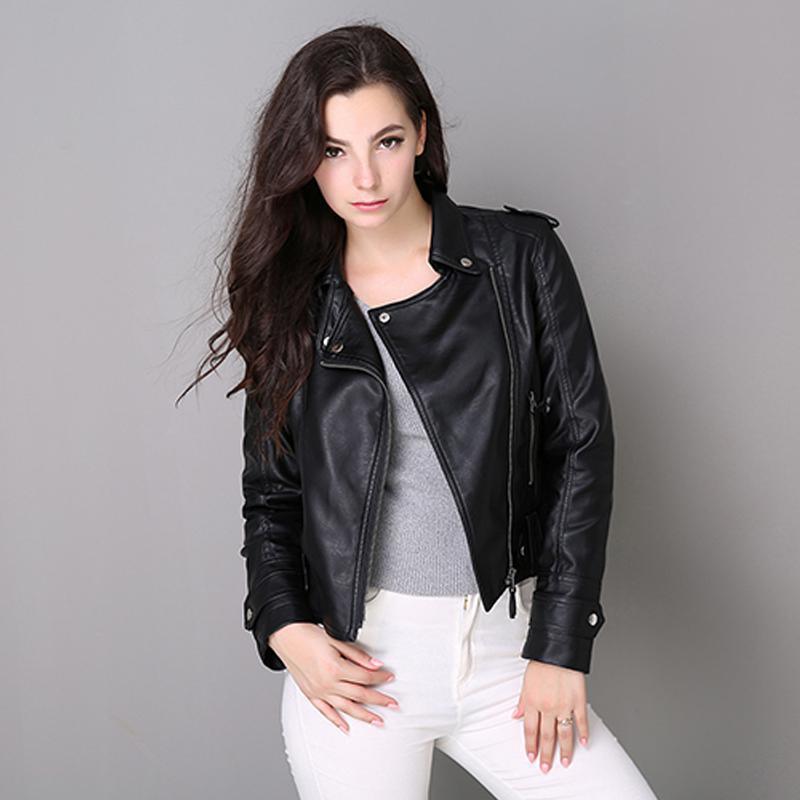 Women   Leather   Coats 2018 New Spring Autumn Cheap Black Jacket Ladies Moto Biker   Leather   Jackets Woman Short Zipper Pvc Coat