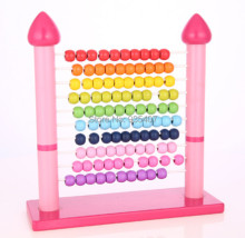 New wooden toy Color box Pink color abacus frame wooden shelves are calculated baby toy free shipping