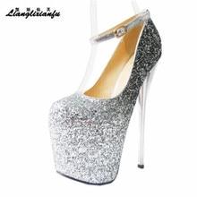LLXF zapatos Plus:34 41 42 43 Crossdresser Nightclub Sexy 19cm High heeled paillette Shoes woman Stiletto female Buckle Pumps