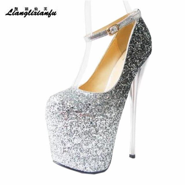 LLXF zapatos Plus: 34 41 42 43 veste Locale Notturno Sexy 19 centimetri scarpe col tacco alto paillette Scarpe donna Tacco A Spillo femminile Fibbia Pompe
