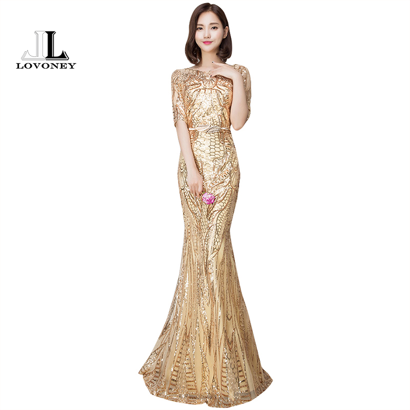 LOVONEY 2019 Sexy Mermaid   Evening     Dress   Half Sleeves Golden   Evening     Dresses   Long Formal Party Gown Vestido De Festa M216