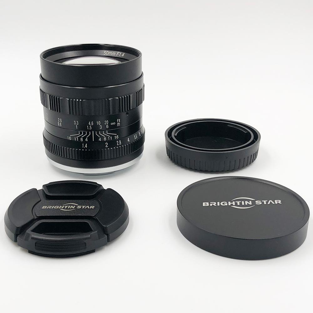 Brightin star 50mm F1.4 objectif de caméra sans miroir à objectif fixe à grande ouverture à mise au point manuelle pour appareils photo canon APS-C