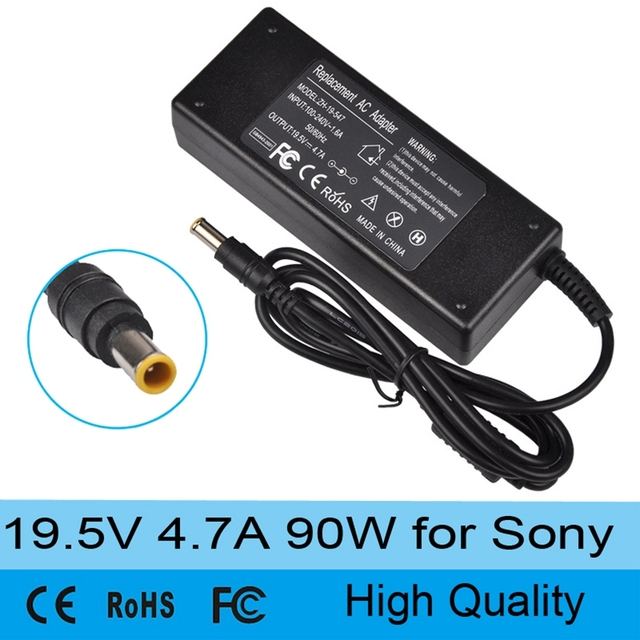 Quality 19.5V 4.7A 90W laptop AC power supply adapter charger for Sony Vaio VGN-AX VGN-BX VGN-C VGN-CR VGP VPC VGC 6.5mm * 4.4mm