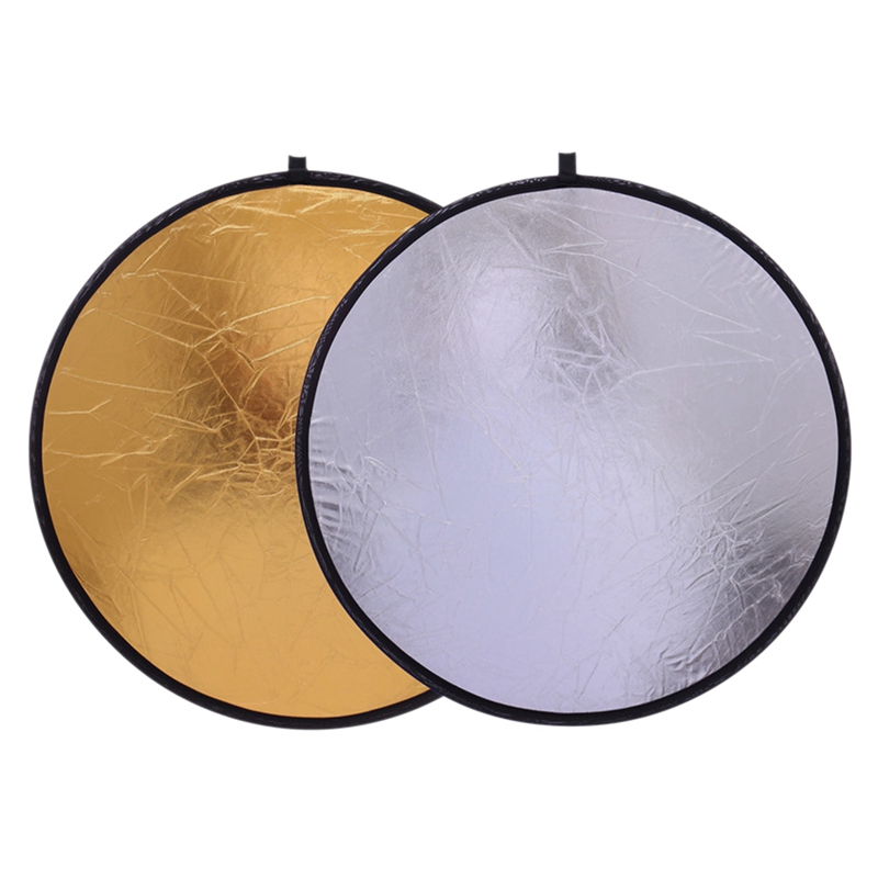 60cm 2-in-1Portable Collapsible Light Round Photography White Silivery Reflector For Studio Multi Photo Disc Diffuers