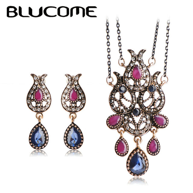 Blucome Turkish Turco Vintage Jewelry Sets Red Crown Water Drop Resin Max Brincos Collar Necklace Unicorn Bijuterias Women Joyas